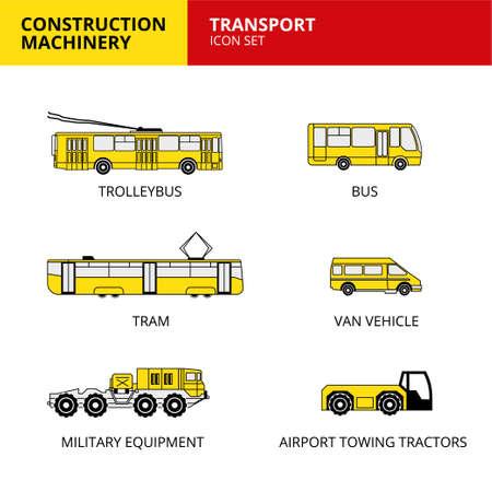 Transport vehicle construction machinery transport icons set