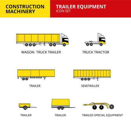 Trailer equipment vehicle and transport car construction machinery icons set vector