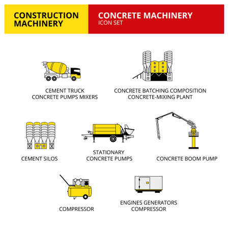 Concrete machinery vehicle and transport car construction machinery icons set vector 向量圖像