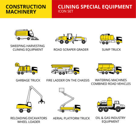 clining Special equipment machinery vehicle and transport car construction machinery icons set vector
