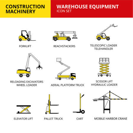 Warehouse equipment machinery vehicle and transport car construction machinery icons set vector