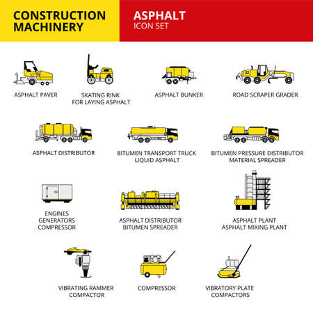 Asphalt machinery vehicle and transport car construction machinery icons set vector