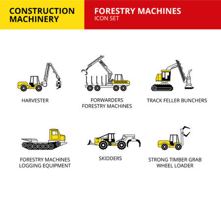 Forestry Machines machinery vehicle and transport car construction machinery icons set vector