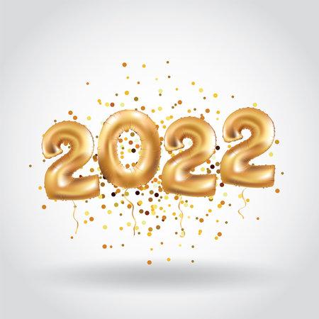 Happy new year Metallic Gold Balloons 2022 christmas