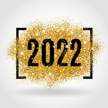Gold glitter Happy New Year 2022 Christmas background