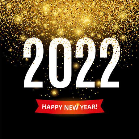 Gold glitter Happy New Year 2022 Christmas in black