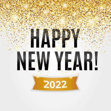 Gold glitter Happy new year 2022 christmas background 向量圖像