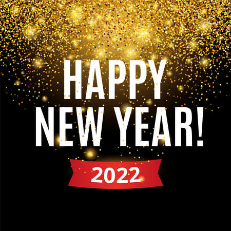 Gold glitter Happy new year 2022 christmas background in black