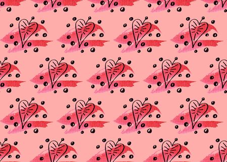 Seamless pattern of inky hearts looking like leaves with watercolor strokes 写真素材