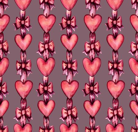 Seamless pattern of decorative red hearts tied with ribbon.