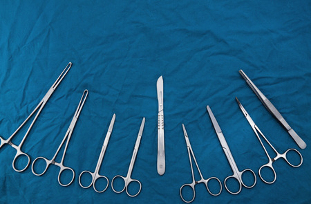 Surgical instruments Set for surgery on green