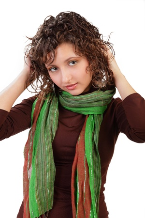 nip: Portrait of the beautiful young girl with a scarf isolated on a white background