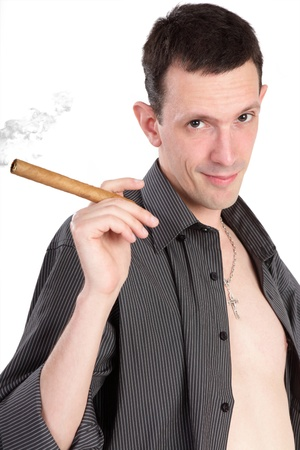 The guy with a cigar isolated on a white background photo