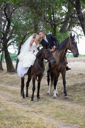 Bride and groom in forest on the horses and kisses