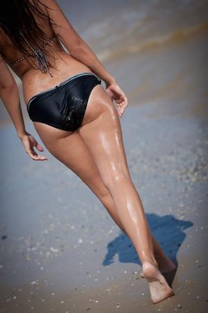 hot breast: girl goes on a beach