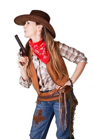 An isolated photo of a cowgirl with a gun photo