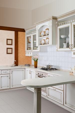 Modern kitchen interior with white decoration Stock Photo - 13600283