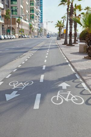sinuous: grey sinuous bicycle path in the in the street cities