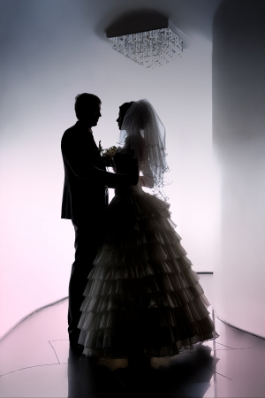 Silhouetted portrait of a bride and groom Stock Photo