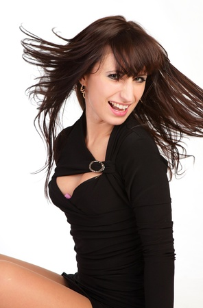 beautiful girl with a flying hair Stock Photo - 13600466