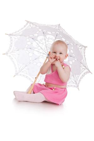 child with umbrella isolated on white background Stock Photo - 13684142