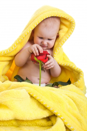 Lovely baby holding a red rose photo
