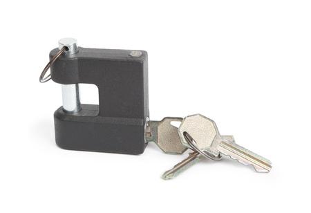 Metallic padlock and keys isolated on white Stock Photo - 14648584