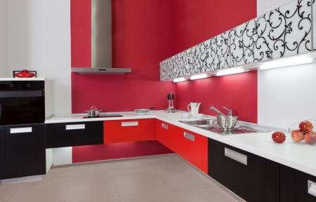 bar ware: Modern kitchen interior with red decoration