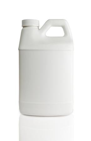 white plastic bottle isolated on a white background photo