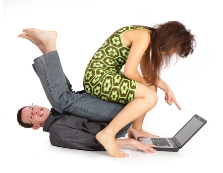 guy and girl with the laptop isolated on a white background Stock Photo - 14914135