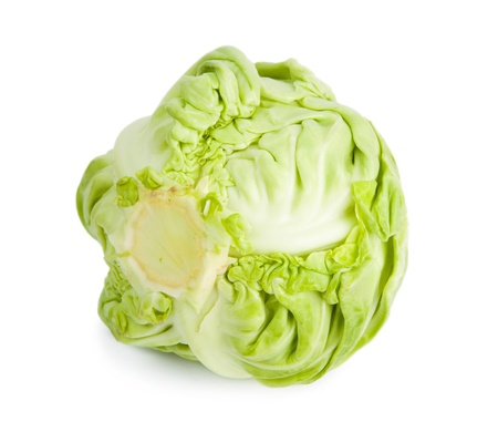 roughage: Green cabbage isolated on white background