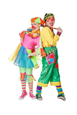 Couple of happy clowns. Isolated on white photo