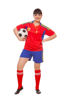 girl holding soccer ball isolated on white photo