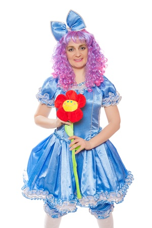 pretty girl in the dressed like Malvina, doll with the blue hair. isolated on a white  background photo