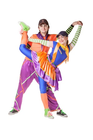 Couple of playful clowns  Isolated on white Stock Photo - 17785248