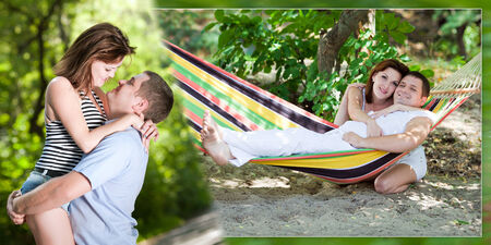 Collage - a loving couple on a beach in a hammock photo