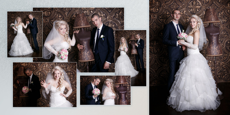 Collage - happy groom and the charming bride with a bouquet from roses in studio on a brown background photo