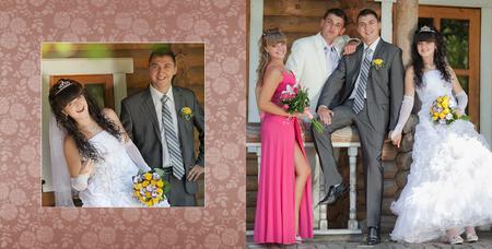 zeugnis: Collage - Br�utigam und die Braut und der beste Mann mit dem Zeugen im Park in ihrem Hochzeitstag