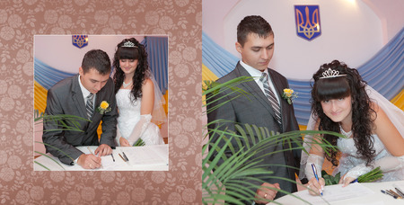 Collage - Solemn registration of marriage in the Wedding Palace photo