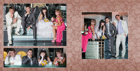 witness: Collage - groom and the bride and the best man with the witness next to bar