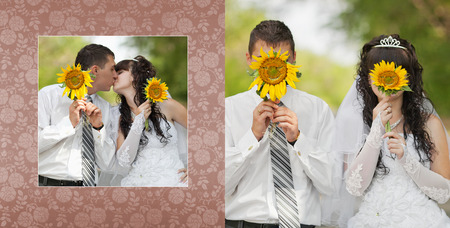 smilie: Collage - groom with the bride are closed by sunflowers on which the smilie is represented
