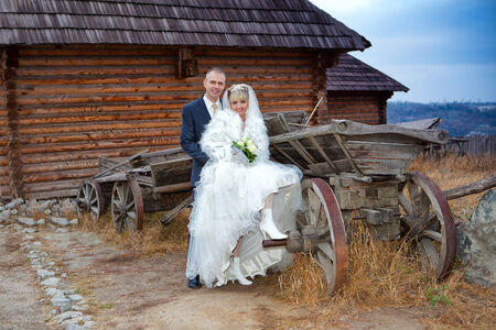 horse cart: The groom and the bride against the wooden house and an old horse cart Stock Photo