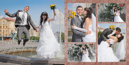 Collage - groom and bride near the fountain photo