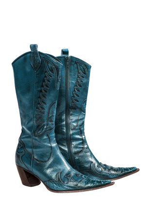 no heels: Blue cowboy boots isolated on a white background