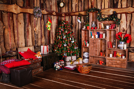 decorated xmas tree with gift Stock Photo