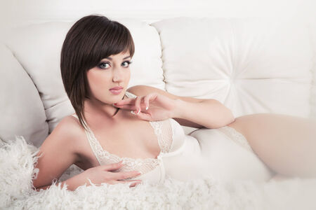 sexiness: Tempting woman in white lingerie