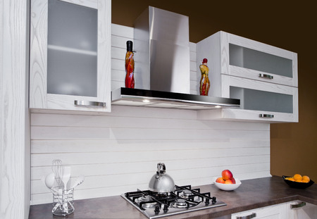 kitchen tile: Modern kitchen interior with white decoration Stock Photo
