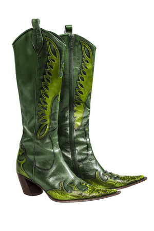 no heels: Green cowboy boots isolated on a white background
