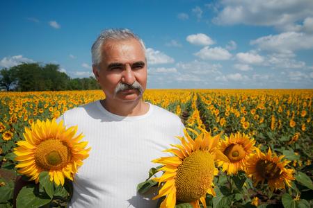 farmer in sunflower field photo