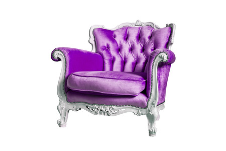 classic furniture: Violet armchair isolated on the white background